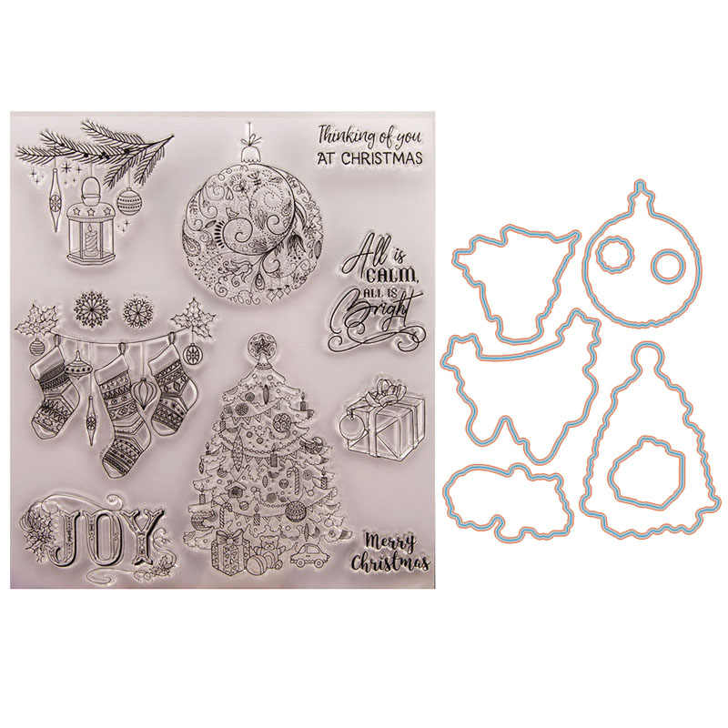 big Christmas tag Stamp and Die set Sock JOY Tree stamps with dies Rubber Silicone Stamps for Scrapbooking DIY card making tool