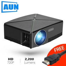 AUN Proyector C80 UP, 1280×720 Resolution, 2200 Lumens With Android WIFI HD Beamer for Home Cinema, Optional C80 MINI Projector