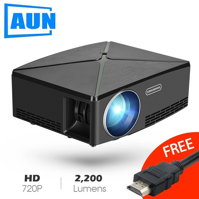 AUN Proyector C80 a resolución de 1280x720 2200 lúmenes con Android WIFI Beamer HD para cine en casa opcional C80 MINI proyector