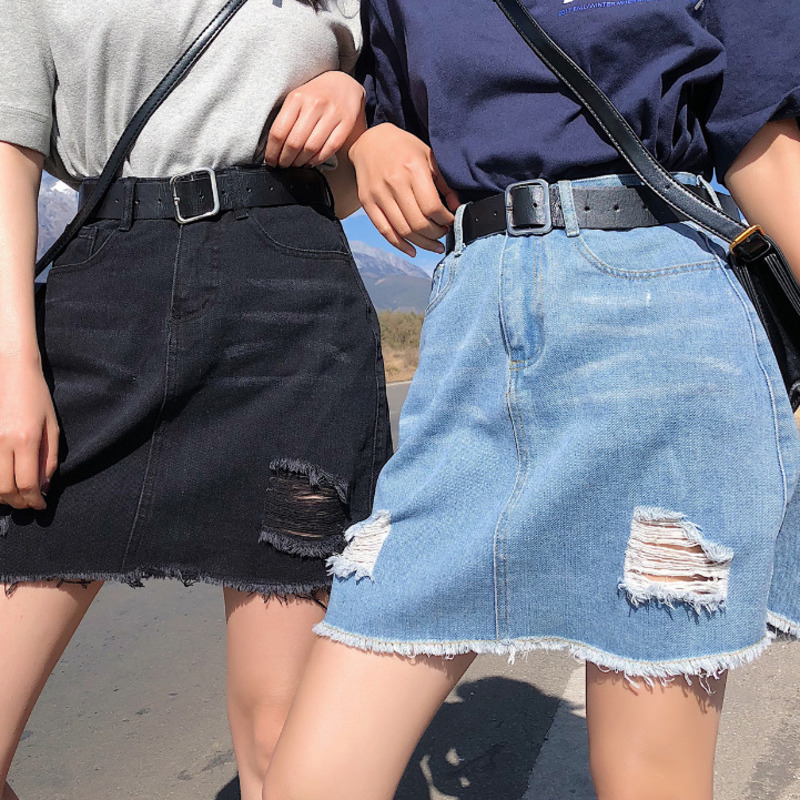 Women Sexy Summer Cool Girls High School Casual Skirts Empire A Line New Skirt Blue Do Old Hole Denim Fashion Waist Mini Skirts