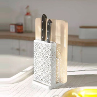 HIPSTEEN Hollow Kitchen Storage Rack Knife Holder Stand Organizer for Kitchen Storage Accessories White