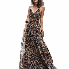 c7534143da4ad Fashion Women Leopard Printed Dress Sexy V Neck Suspender Sleeveless Long  Maxi Dresses Sundress Beach Party