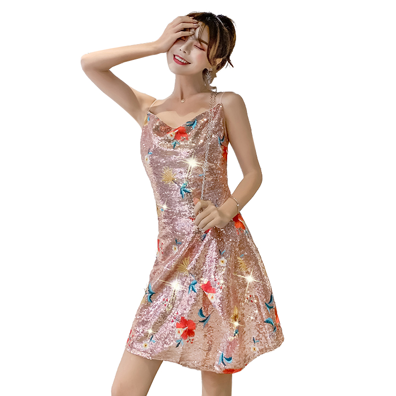 New Women Mini Embroidery Spaghetti Strap Pink Sequins Armor While Party Dress Dresses High-end Color 8722