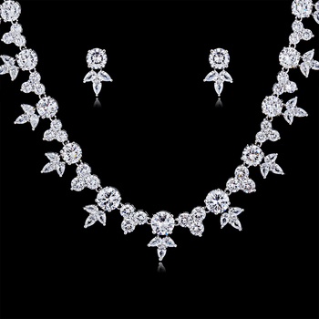 Fashion Crystal CZ Cubic Zirconia Bridal Wedding Round Flower Necklace Earring Set Jewelry Sets for Women Accessories CN10128