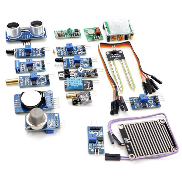 For Raspberry Pi 2 Pi2 Pi3 16 In 1 Sensor Module Kit Laser Ultrasonic Obstacle Avoidance Active Components Integrated CircuitsFor Raspberry Pi 2 Pi2 Pi3 16 In 1 Sensor Module Kit Laser Ultrasonic Obstacle Avoidance Active Components Integrated Circuits
