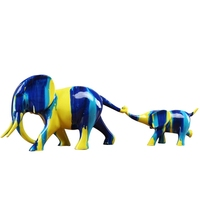 2 Pieces Of Resin Abstract Animal Ornament Craft Living Room Tv Cabinet Display Color Elephant Home Decoration Accessories