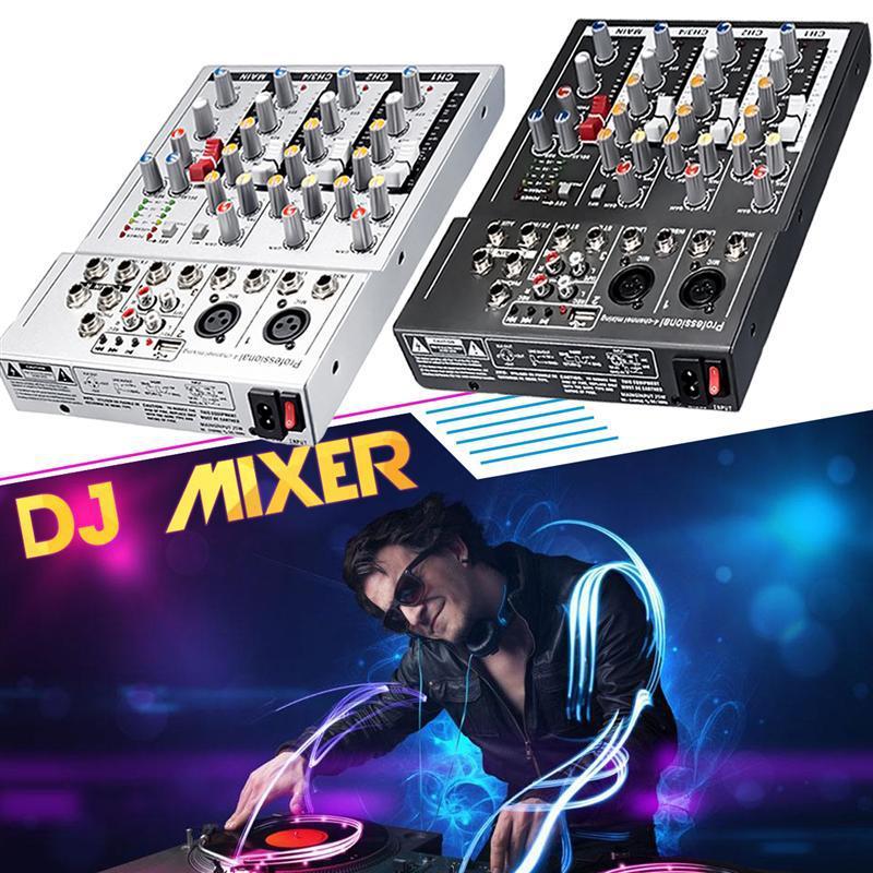 US Plug Black Mini Karaoke Audio Mixer Amplifier Professional Microphone Mixing Sound Console 4 Channel USB 48V Phantom Power