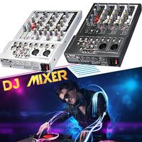 US plug black Mini Karaoke Audio Mixer Amplifier Professional Microphone Mixing Sound Console 4 Channel USB 48V Phantom Power