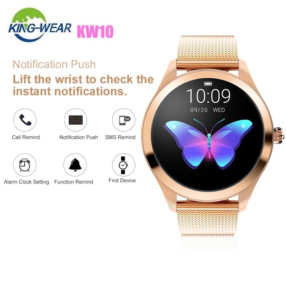 KingWear KW10 montre intelligente 1.04 pouces Bluetooth 4.0 étanche dames Smartwatch moniteur de fréquence cardiaque compte pas rappel sédentaire