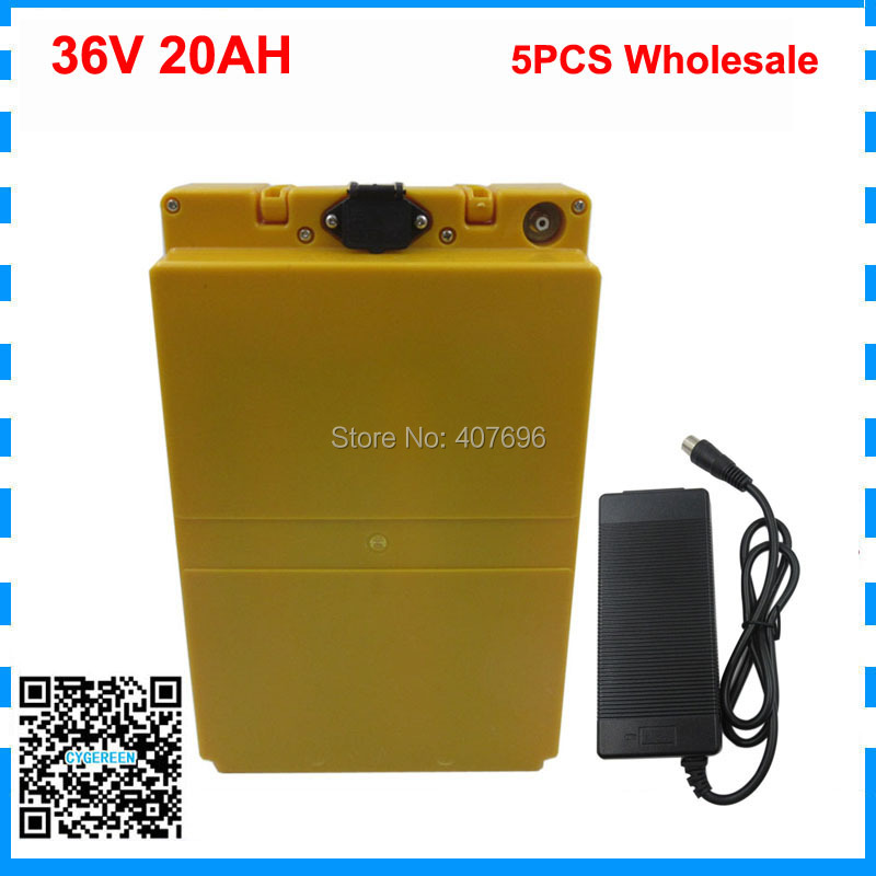 5PCS Wholesale 36V Lithium battery 36V 20AH Electric Bike battery 36 V 20ah 1000W Scooter Battery with case 42V 2A charger