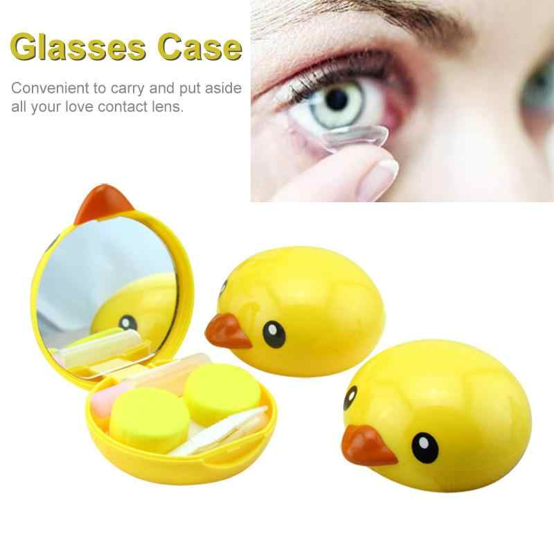 Yellow Duck Shape Invisible Glasses Case Beauty Lovely Portable Mini Storage Box Cosmetic for Invisible Glasses Best Gift