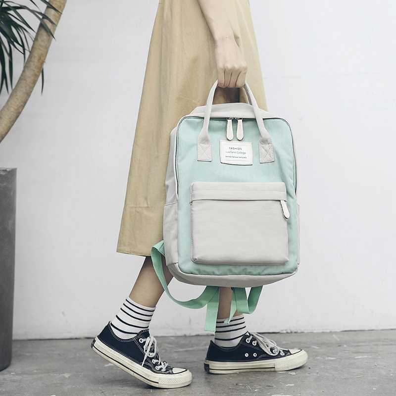 Хит продаж AMS-Модный женский рюкзак водонепроницаемый холщовый рюкзак для путешествий сумка для девочек (зеленый)