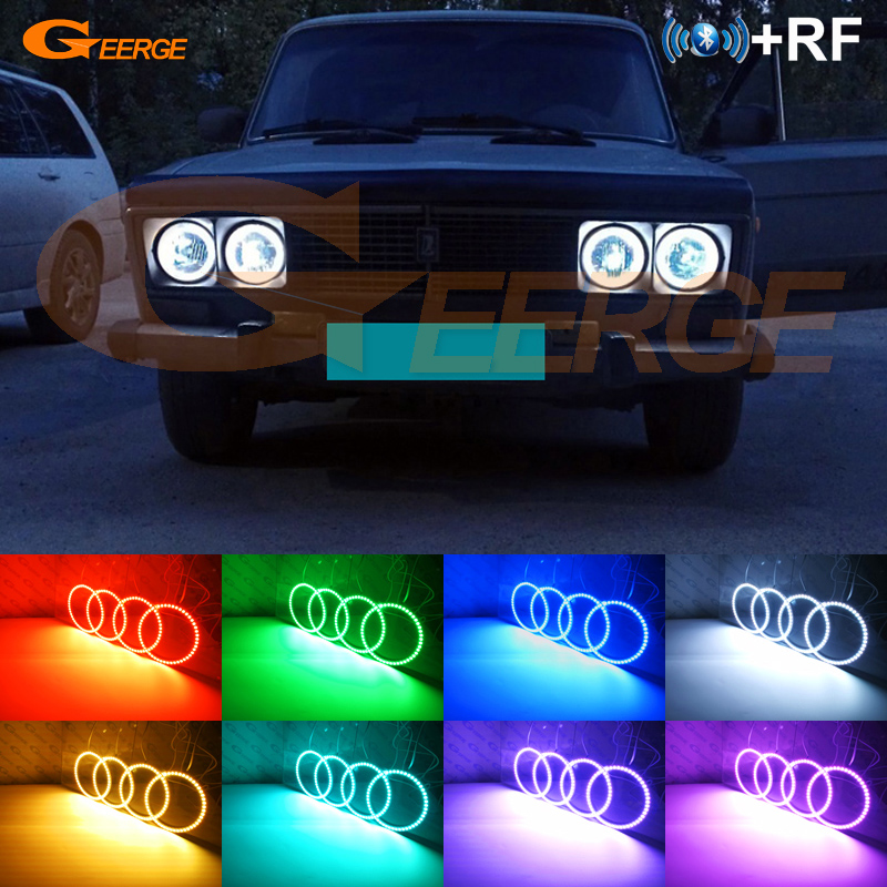 For Lada Vaz <font><b>2106</b></font> 1976 1997 1998 1999 2000 2001 Excellent RF Bluetooth APP Multi-Color Ultra bright RGB LED Angel Eyes kit image