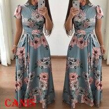 Женское длинное платье макси с коротким рукавом, высокий шейный шарф, Платья с цветочным принтом, женские модные вечерние платья, Femme Vestidos