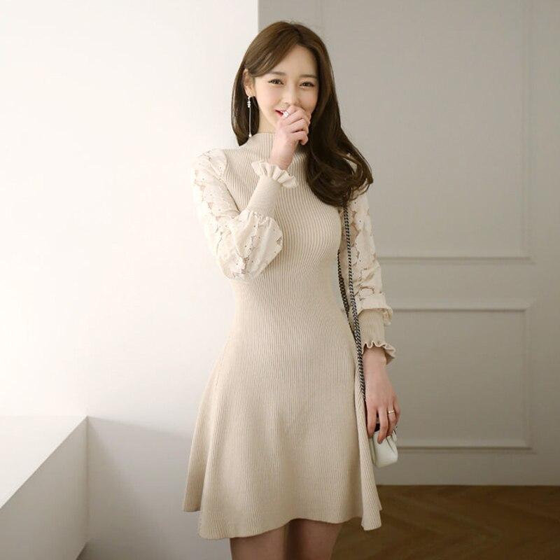487e8c21024 2018 Fashion Winter Dress Women Elegant Lace Long Sleeve Knitting Sweater  Dress Bodycon Office Work Lady