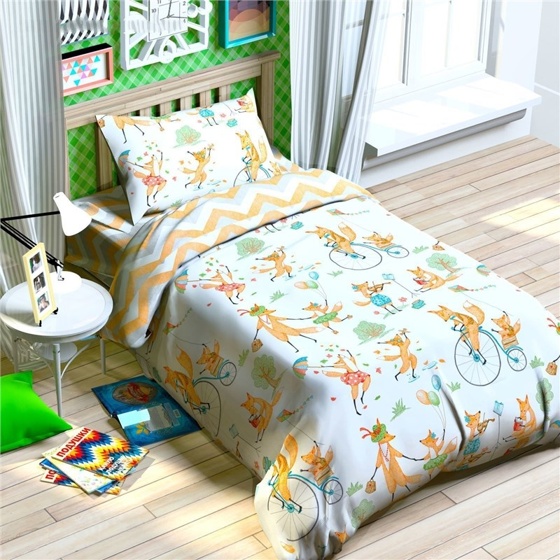 Bed Linen Этелька 1,5 CN Impish family 143*215 cm, 150*214 cm, 50*70 cm-1 PCs, 100% cotton, calico calico print crochet back mix