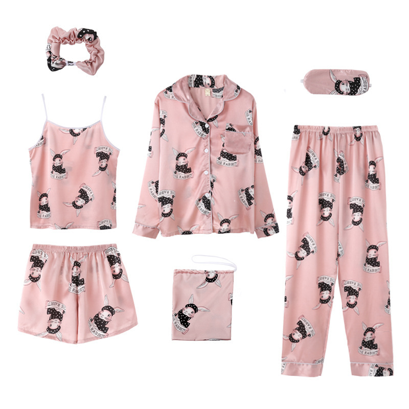 Lisacmvpnel 7 Pcs Printing Women Pajama Set  Ice Silk Spring New Top+Pant+Nightdress Set Sleepwear