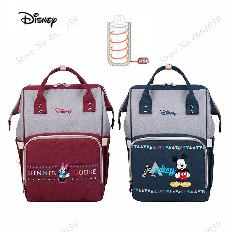 Disney Mommy Bag Usb Bottle Heater Oxford Stroller Bag Multifunction Backpack Waterproof Pregnant Mother Diaper Bag Mickey Mouse