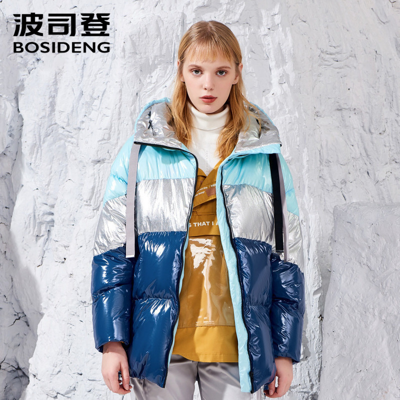 BOSIDENG designer collection winter women down coat hooded down jacket thicken outwear Gradient waterproof plus size
