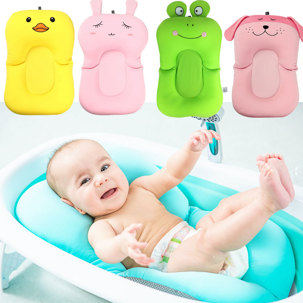 Portable Baby Showers Air Cushion Bed Cartoon Baby Bath Pad NonSlip Bathtub Mat NewBorn Infant Safety Security Bath Seat Support