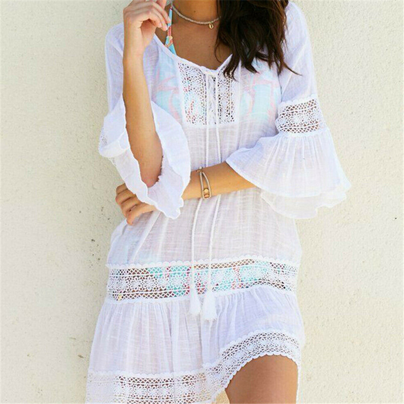 e0b6f091a6a Bikini Cover Up Lace Tassel Hollow Crochet Swimsuit Beach Dress Women 2019  Summer Ladies Cover-