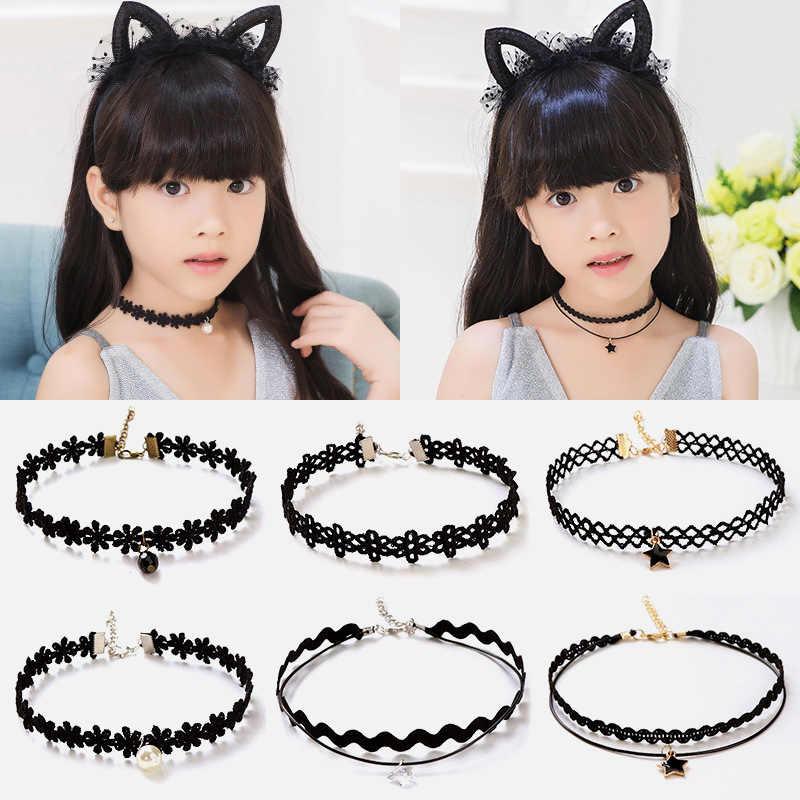 Colar preto requintado moda gótico meninas crianças colar de renda muito multi camada moda jóias gargantilha 1 pc estiramento
