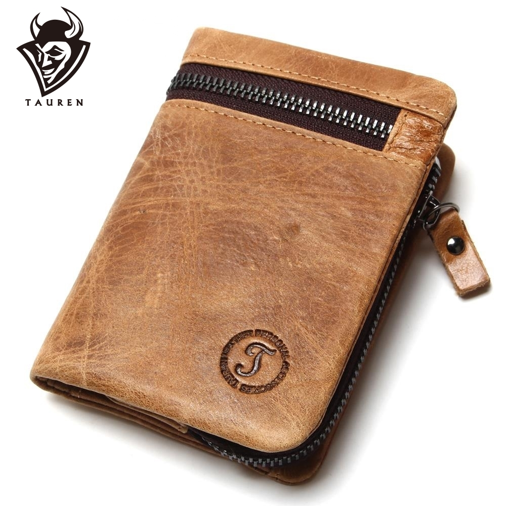 Äkta Cow Leather Mens Plånböcker Märke Logo Zipper Design Bifold Kort Mäns Handväska Man Koppling Med Korthållare Mynt Purses Walet