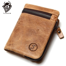 Genuine Cow Leather Mens Wallets Brand Logo Zipper Design Bifold Short Men Purse Male Clutch With Card Holder Coins Purses Walet
