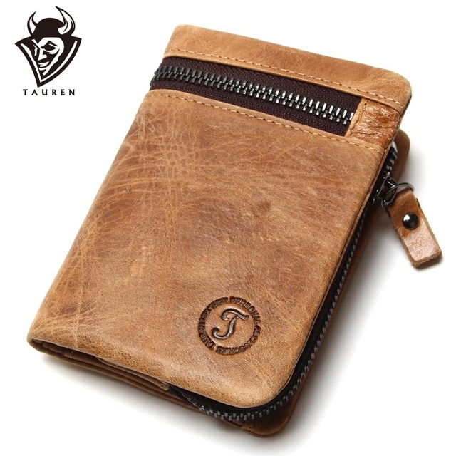 8f49fe2e37688 Genuine Cow Leather Mens Wallets Brand Logo Zipper Design Bifold Short Men  Purse Male Clutch With