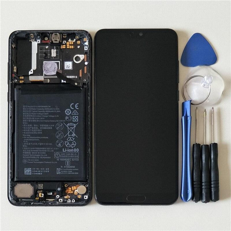 D'origine M & Sen Pour Huawei P20 Pro CLT-AL LCD Écran affichage écran tactile Digitizer avec cadre + d'empreintes digitales + bettery pour p20 plus