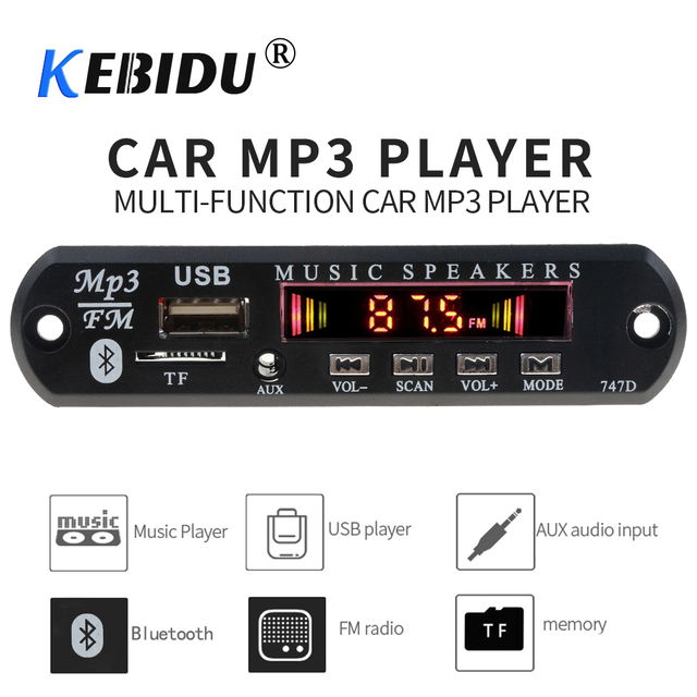 MP3 WMA декодер Kebidu, Bluetooth, 5 В, 12 В, автомобильный комплект, mp3 плеер, Плата декодера, FM радио, TF, USB, 3,5 мм, AUX аудиоприемник