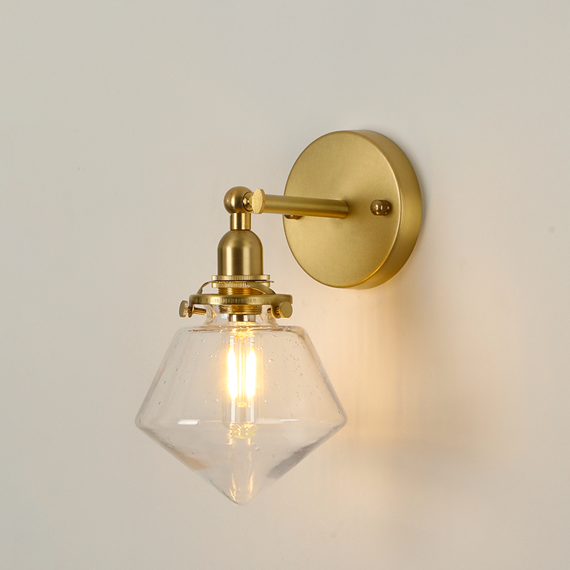 EL Brass Wall Lamp with Diamond Glass shape Rotation Angle 270 Degree up and down for Bedroom Livingroom Indoor Lighting