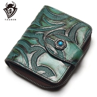 Tauren Accordion Wallet Brush Color Carve Flower Pattern Genuine Leather Retro Wallet Women Zipper Around Wallet