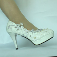3Women's High heel Pearls Tops Dress Close Toe Wedding Shoes bridal Large Size