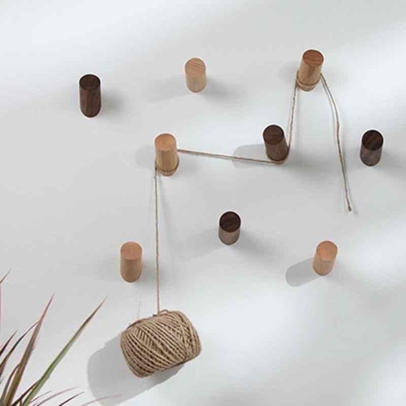 天然木製の壁ハンガーローブフック木材ホームルームの装飾壁マウントコート服スカーフ帽子バッグ収納ハンガーフック新しい