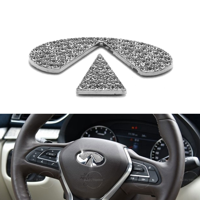 KJAUTOMAX For Infiniti FX35 FX37 QX70 QX80 Q30 Q50 G35 G37  Steering Wheel Bling Logo Diamond Emblem Sticker