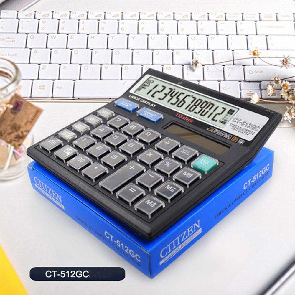 HobbyLane CT-512GC 12 Digits Solar Powered Basic Office Calculator With Large LCD Display General Use Solar Energy D25