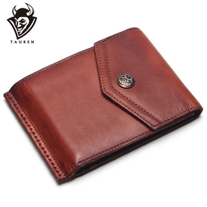 Image 1 - TAUREN Vintage 100% Genuine Leather Men Hasp Wallet Mens Retro Wallet Short Dull Red Color Change Purse Coin Purse