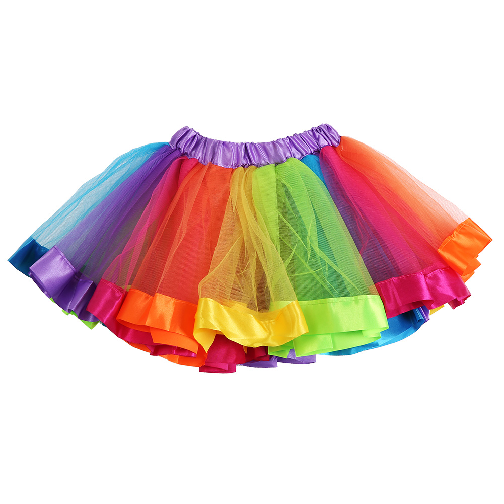 Kids Lovely Colorful Tutu Skirt Girls Rainbow Tulle Tutu Mini Skirts Girls Colorful Stitching Skirt