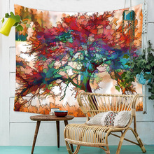 Bohemian Wall Tapestry Macrame Wall Hanging Boho Decor Psychedelic Tapestry Nature Tree Watercolor Wall Cloth Tapestries Blanket