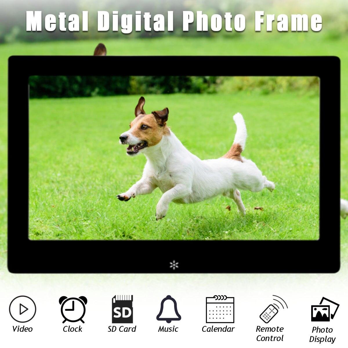 HD Цифровая фоторамка 10 ''ЖК-дисплей Дисплей полный Функция серебристый, черный АС Plug электронная фоторамка календарь MP3 Movie Player
