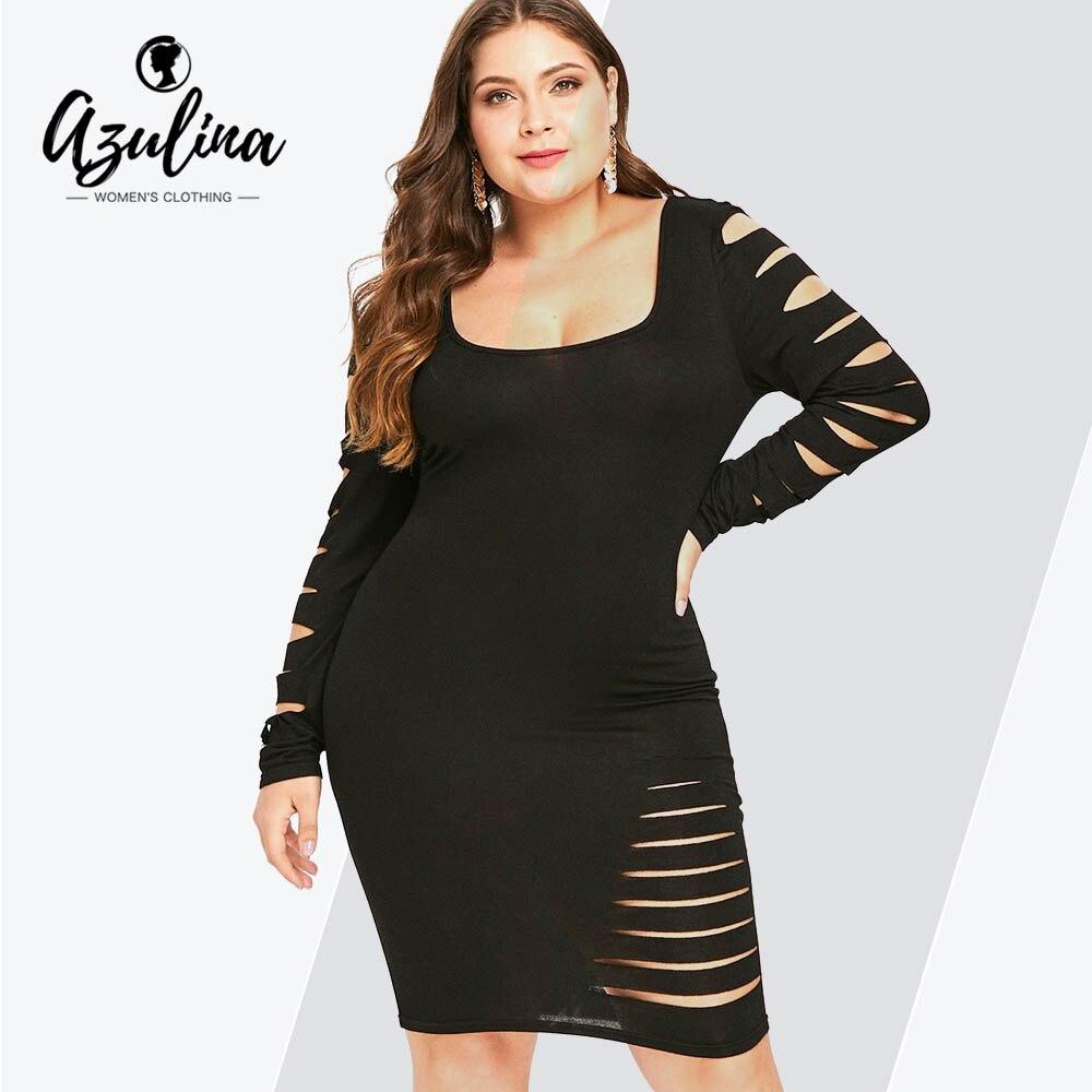 AZLINA Plus Size Sexy vestido femenino otoño escalera recortado manga rasgado Vestidos nuevos sólido cuadrado cuello Midi Bodycon Vestidos