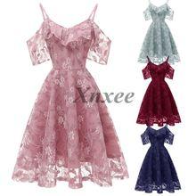 цена на Summer Party Dress Women Clothes 2019 Elegant Cold Shoulder Ladies Lace Dresses Vintage Dress Vestidos Verano