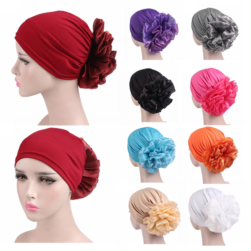 LNRRABC New Woman Big Flower Turban Hair Accessories Elastic Cloth Hair Bands Hat Beanie Ladies Muslim Scarf Cap for Hair Loss