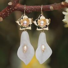 FARLENA Jewelry Vintage Semi-precious Stone Morning glory Drop Earring Elegant Freshwater Pearl Earrings for Women