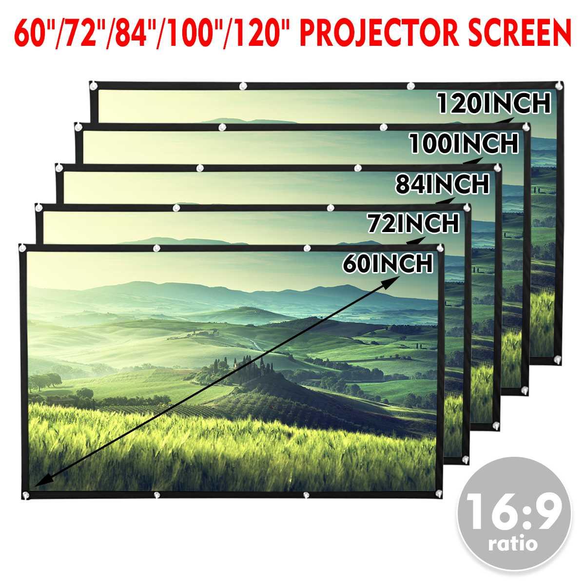 60 72 84 100 120 ''портативный складной проектор экран Full HD 1080P домашний кинотеатр 3D Открытый кинотеатр проекционный экран холст