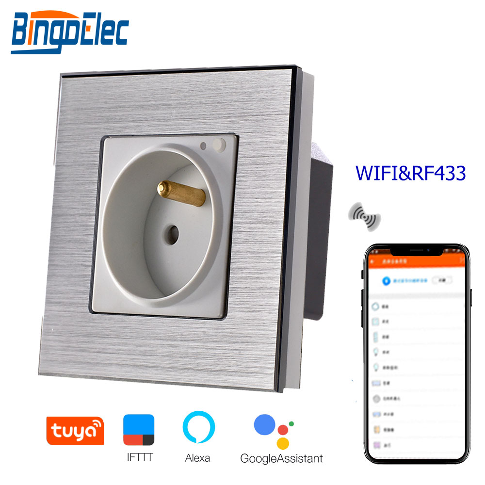 Bingoelec WIFI Socket EU Standard Germany Wall Socket With RF 433 Aluminum Frame Wireless Control By Tuya APP Smart SocketBingoelec WIFI Socket EU Standard Germany Wall Socket With RF 433 Aluminum Frame Wireless Control By Tuya APP Smart Socket