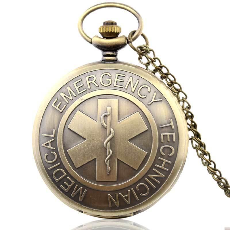 IBEINA Bronze Antique EMT Vintage Pendant Pocket Watch Quartz Necklace Chain Gift Retro