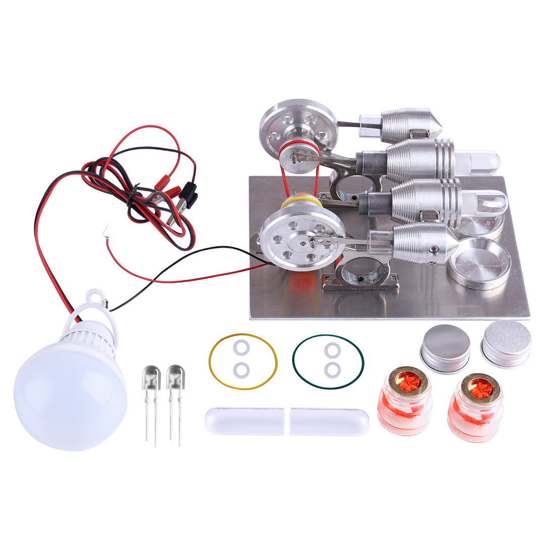 Double Cylinder Stirling Engine Model Kits Physics Science Experiment DIY Model Building Kits Toys For Children
