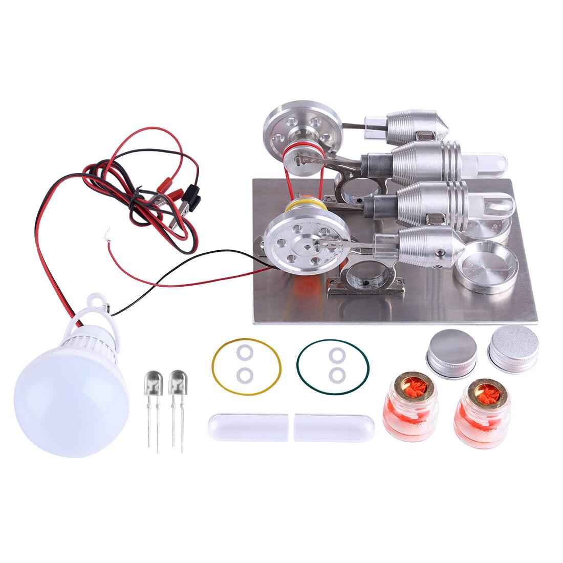 Kits de modèles de moteur à Double cylindre Stirling expérience de la Science physique bricolage Kits de construction de modèles jouets pour enfants